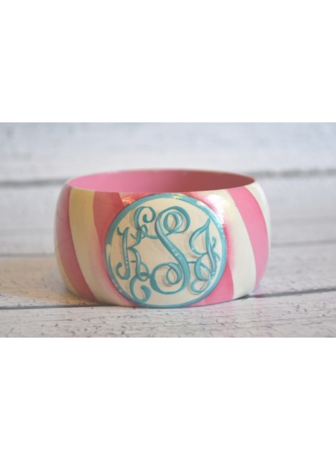 Diagonal Striped Monogram Bangle *handpainted
