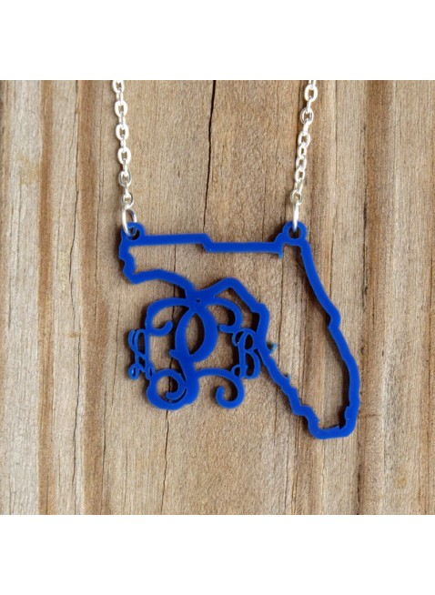 Acrylic State Pride Necklace & Monogram