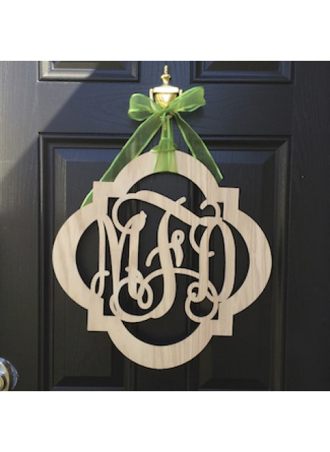 Bordered 3 Letter Wooden Monogram