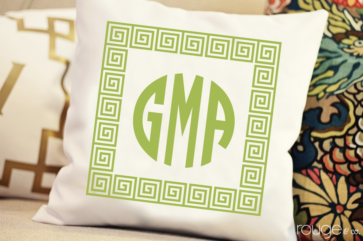 Casual Colors Pillow with Monogram