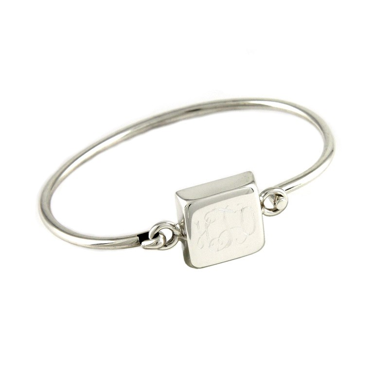 Sterling Silver Square Monogram Latch Bangle