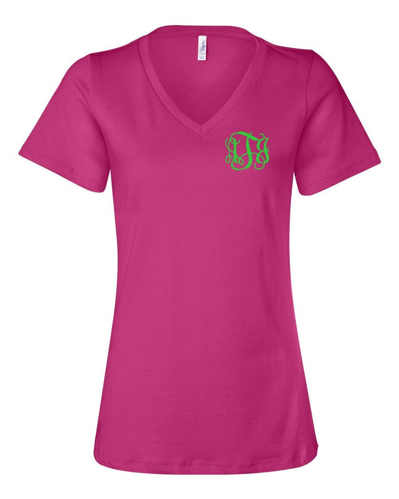 Monogram V Neck Tri-Blend TShirt, More Colors