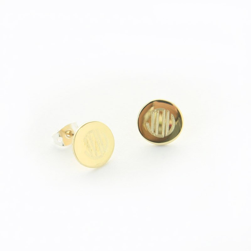 Gold Tone Round Disc Earrings