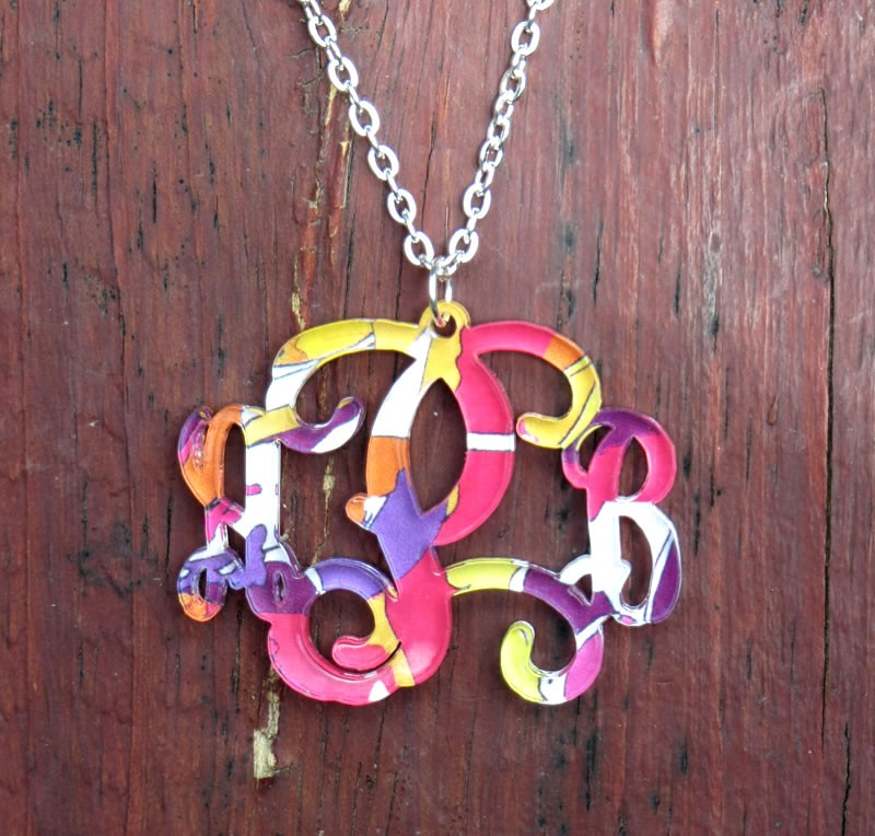 Patterned Acrylic Monogram Necklace Key Biscayne Collection