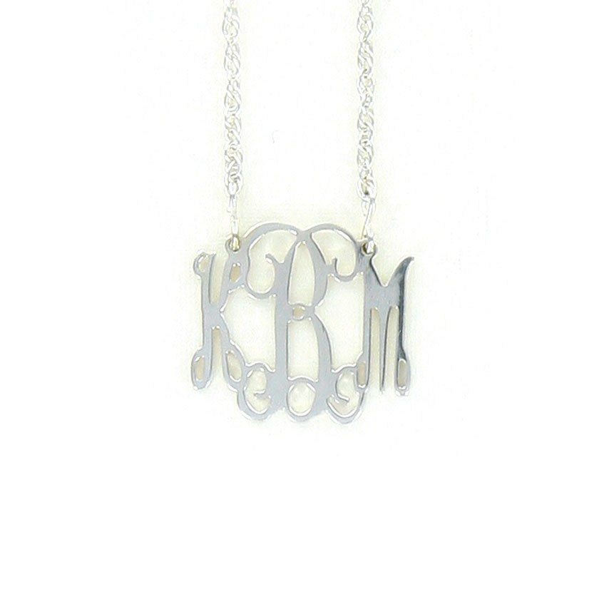 Sterling Silver Interlocking Monogram Necklace, Small