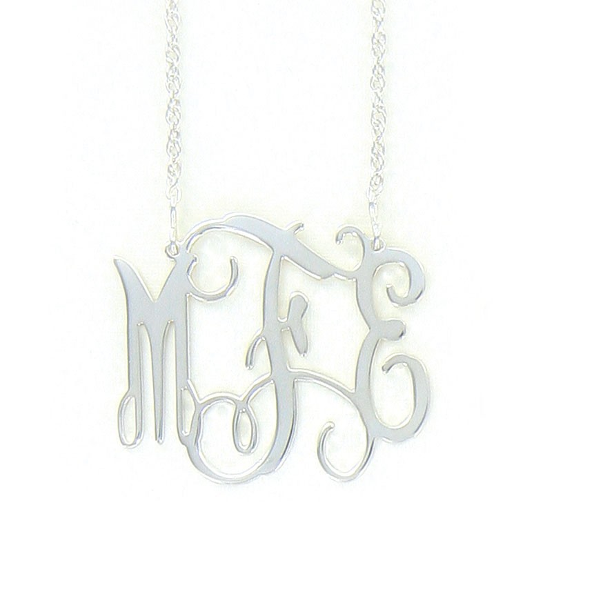 Sterling Silver Interlocking Monogram Necklace, Medium