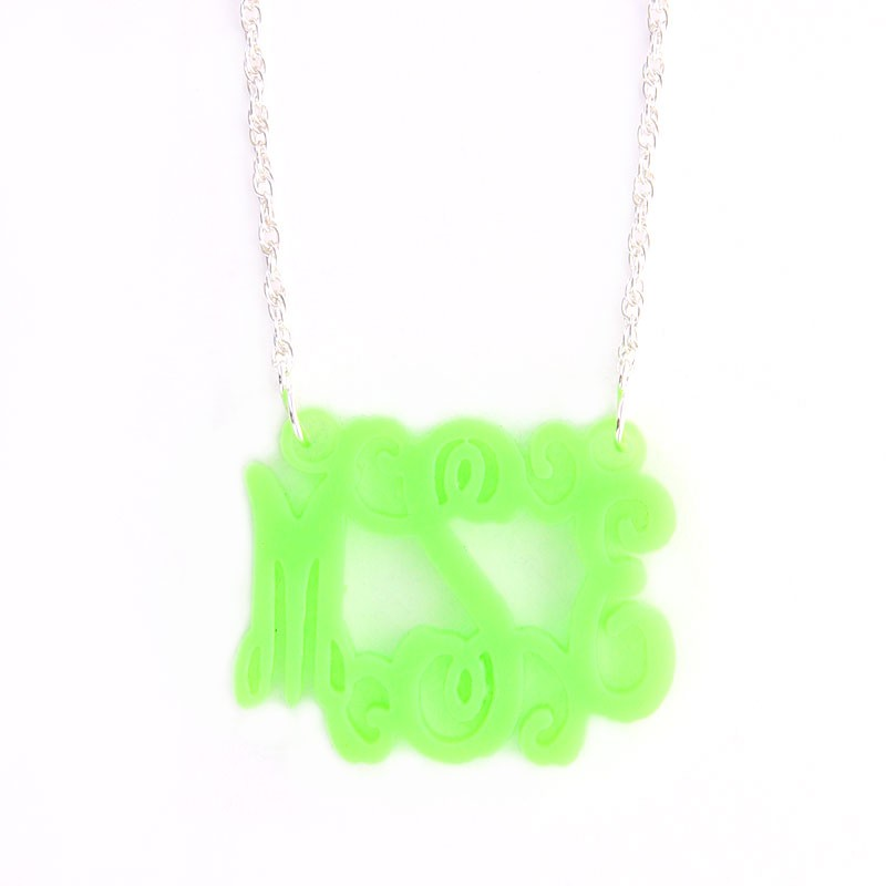 Acrylic Interlocking Monogram Necklace- Small