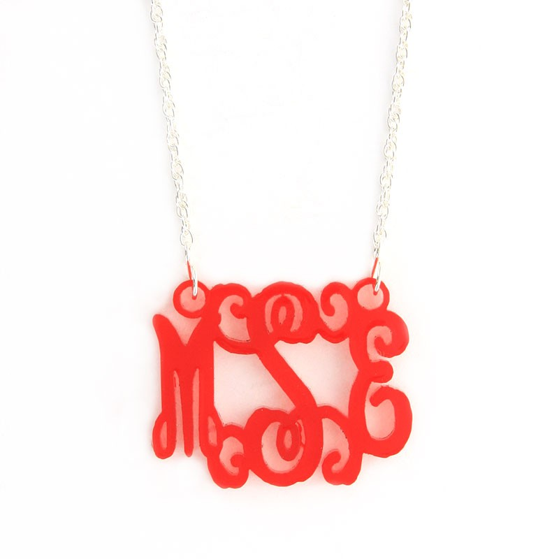 Acrylic Interlocking Monogram Necklace- Medium