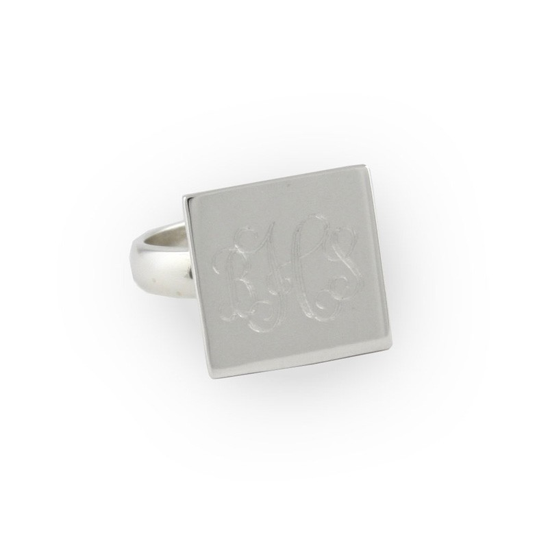 Sterling Silver Square Monogram Ring