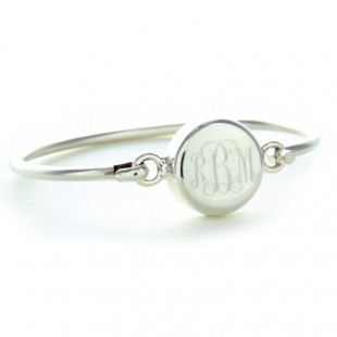 Sterling Silver Round Monogram Latch Bangle