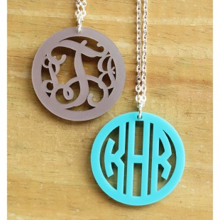 Acrylic Bordered Monogram Pendant Necklace