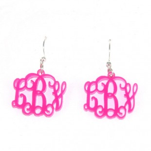 Acrylic Interlocking Monogram Earrings
