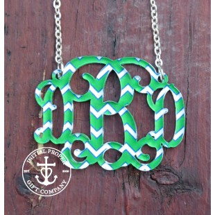 Patterned Acrylic Monogram Necklace Chevron Collection