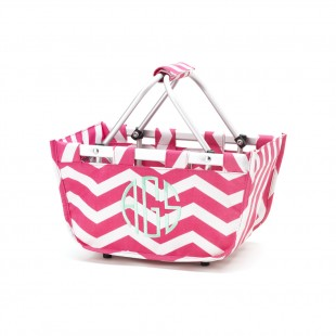Mini Market Tote - Hot Pink Chevron
