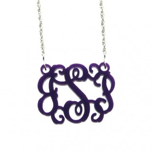Acrylic Interlocking Monogram Necklace- Large