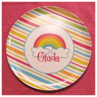 Rainbow Stripes Melamine Plate