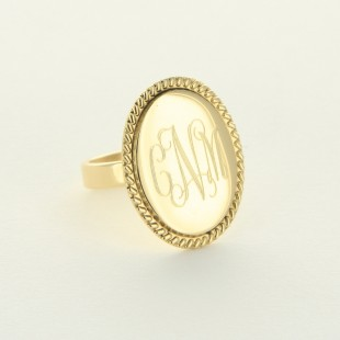 Gold Tone Monogram Oval Ring with Rope Trim