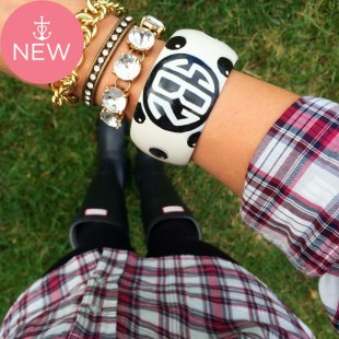 Mini Dot Monogram Bangle *handpainted