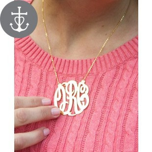 Fancy Circle Monogram Gold Overlay Necklace