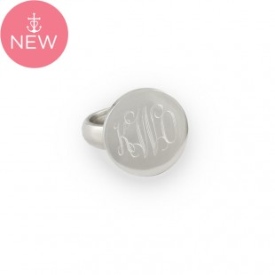 Sterling Silver Round Monogram Ring