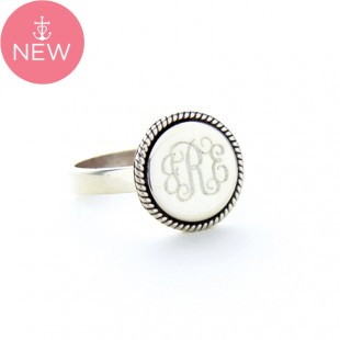 Sterling Silver Round Rope Monogram Ring