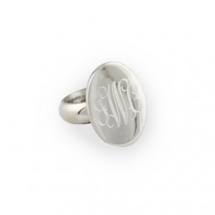 Sterling Silver Monogram Oval Ring
